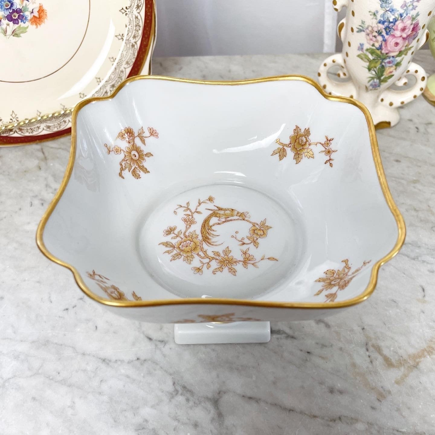 Vintage White and Gold Floral Limoges Compote