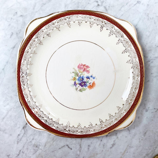 Floral Square Paden City Pottery Plate