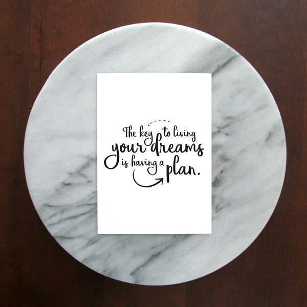 "The Key to Living Your Dreams is Having a Plan Print | 5x7"" or 8x10"""