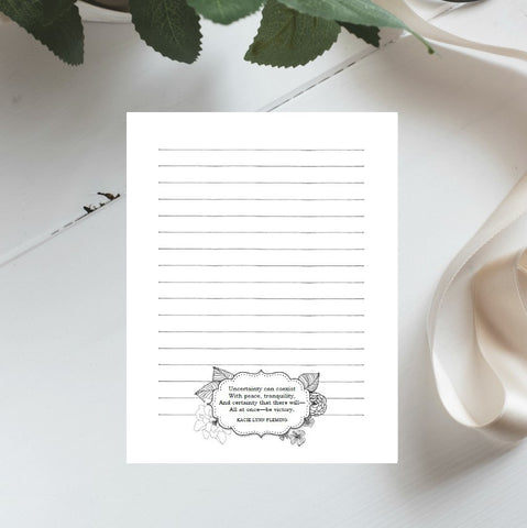 "Victory Floral Quote Printable 8.5x11"" Stationery 