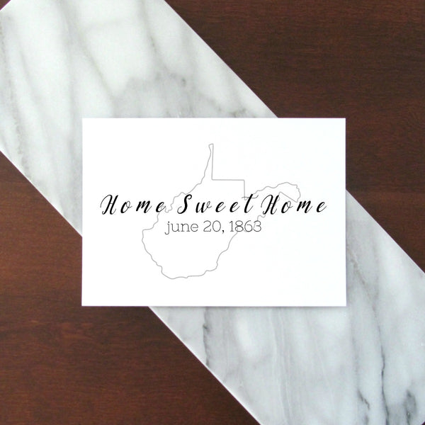 "Home Sweet Home West Virginia Digital Printable - Black and Gray | 5x7"" and 8x10"""