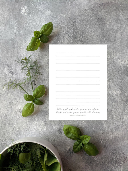 "Anchor Quote Printable 8.5x11"" Stationery 