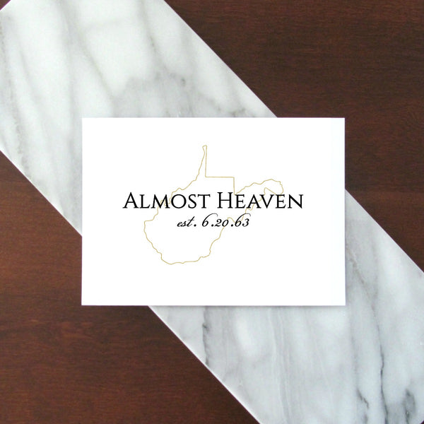 "Almost Heaven West Virginia Day Digital Printable - Gold | 5x7"" and 8x10"""