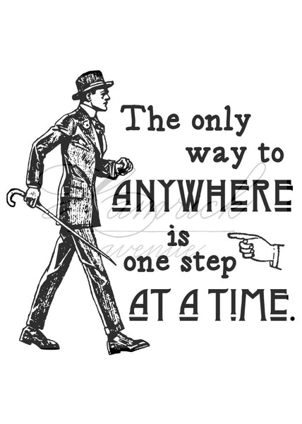 "One Step at a Time Antique Style Print | 5x7"" or 8x10"""