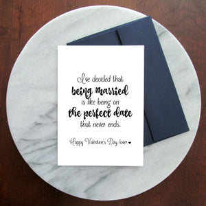 The Perfect Date Valentine's Day Greeting Card - Blank Inside