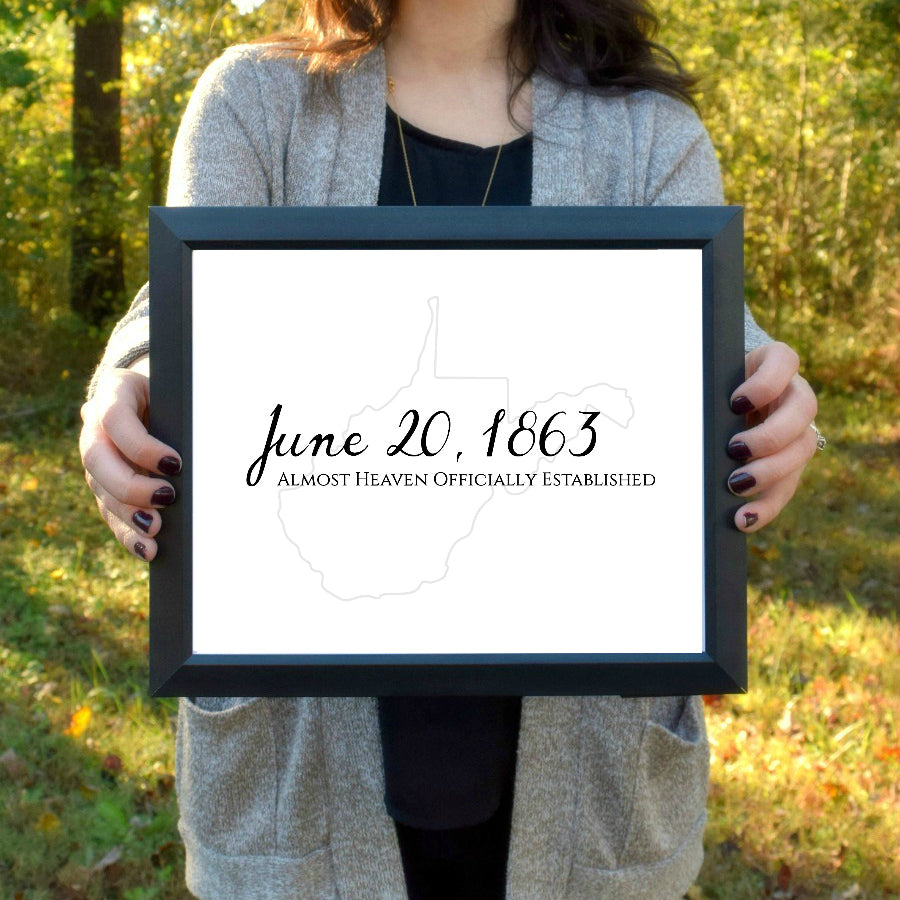 "West Virginia Day Print - Black and Gray | 5x7"" or 8x10"""