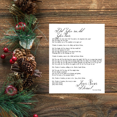 "Wonder of Wonders Christmas Song Lyrics Print | 5x7"" or 8x10"""