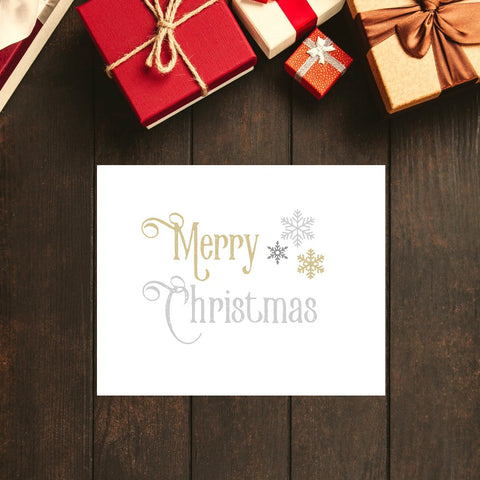 "Merry Christmas Silver and Gold Print | 5x7"" or 8x10"""
