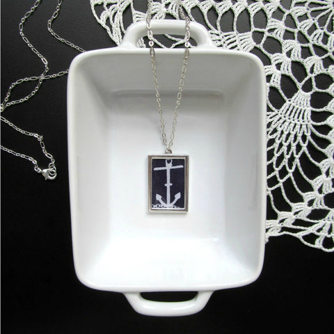 Navy Blue Anchor Necklace & Print | Hebrews 6:18-19