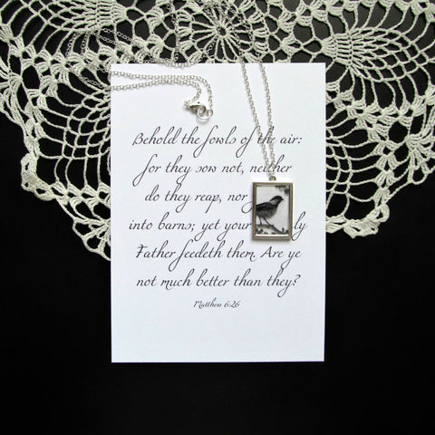 Long Silver Bird Necklace & Print | Matthew 6:26