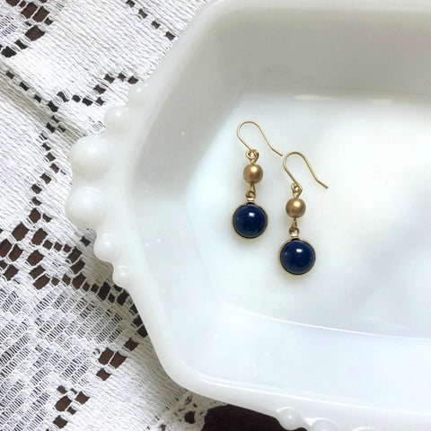 Navy Blue and Gold Dainty Drop Earrings