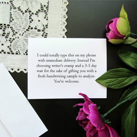 Sarcastic Stationery Note Card - Blank Inside