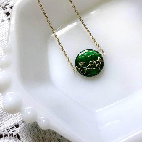I AM WHOLE Green and Gold Necklace