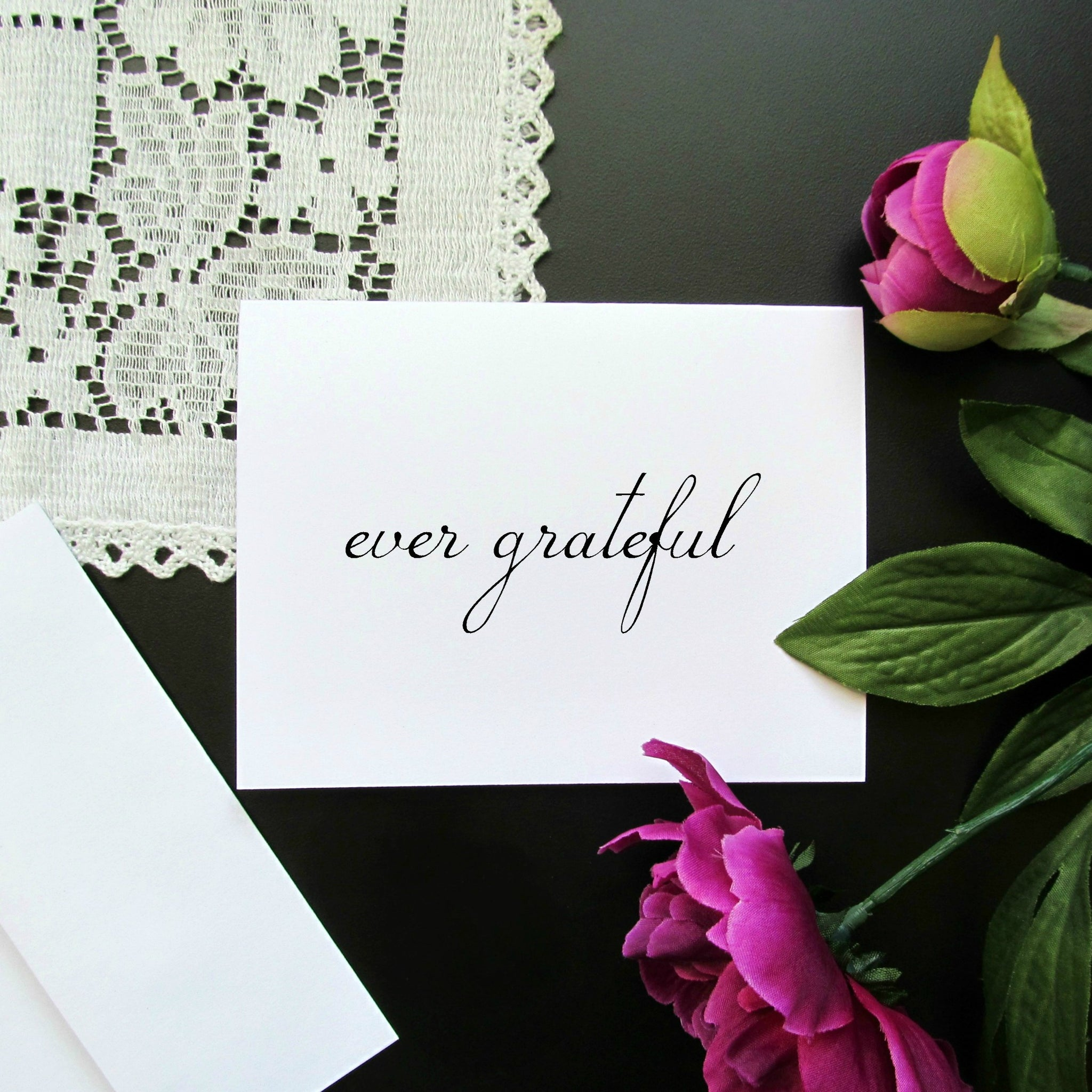 Ever Grateful Thank You Note Card - Blank Inside