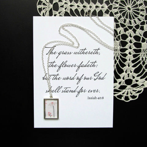 Long Silver Floral Necklace & Print | Isaiah 40:8