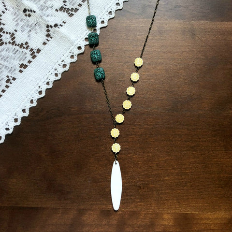 Yellow and Teal Asymmetrical Necklace