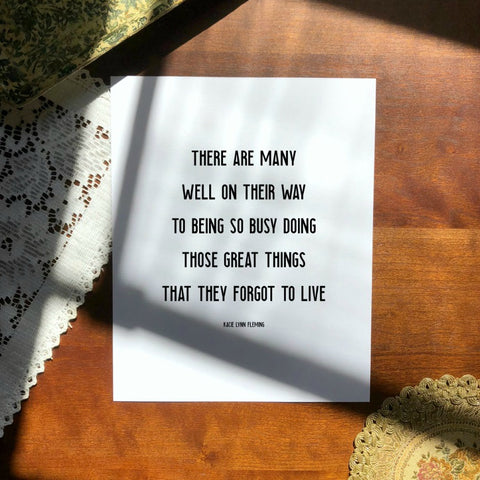 "FORGOT TO LIVE Poem Print | 5x7"" or 8x10"""