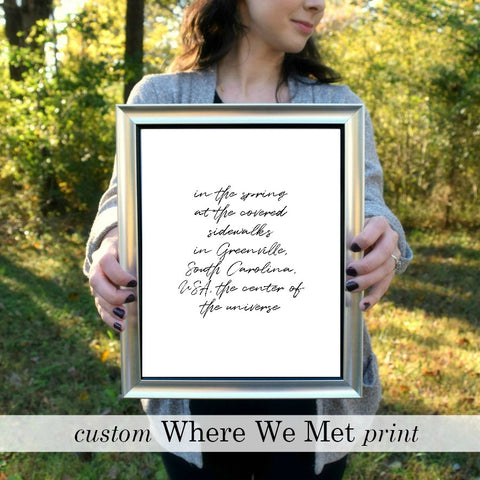 "WHERE WE MET Custom Print in Black I | 5x7"" or 8x10"" or Printable"
