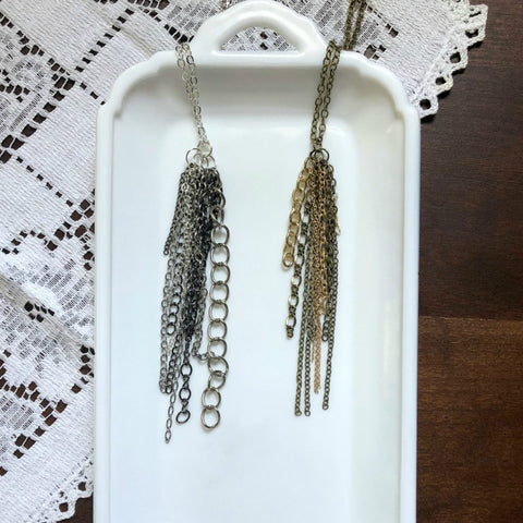 Silver Gunmetal or Gold Bronze Chain Tassel Necklace - Choose Your Color