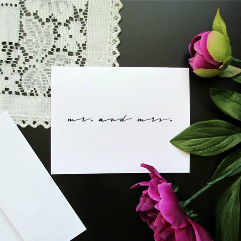Mr. and Mrs. Note Card - Blank Inside