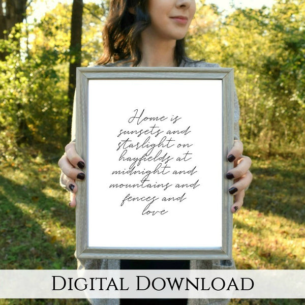 "FENCES Country Home Lyric Digital Download | 5x7"" and 8x10"""