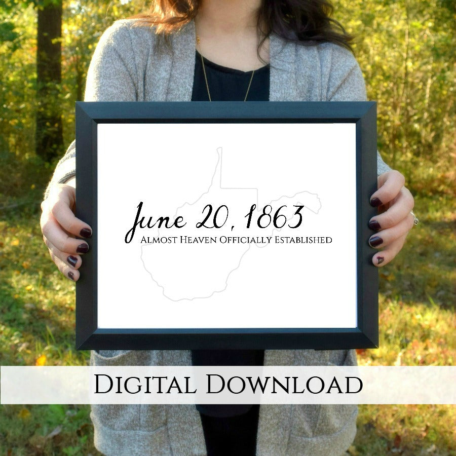 "West Virginia Day Digital Printable - Black and Gray | 5x7"" and 8x10"""