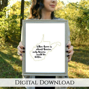 "Almost Heaven West Virginia Digital Printable - Gold | 5x7"" and 8x10"""