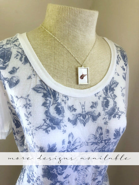 WEST VIRGINIA Floral State Outline Silver Large Necklace