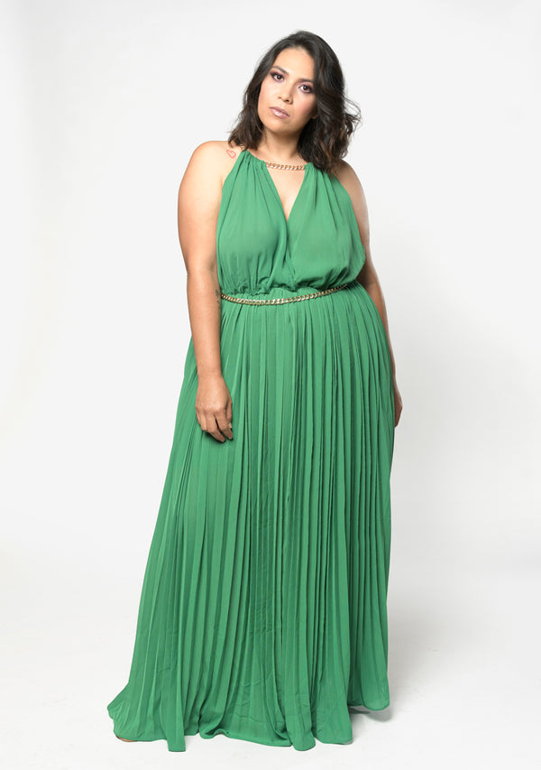 DUGGAN DRESS  VERDE - MOSTAZA
