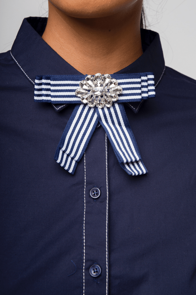 ByGalilea Blusas THE CRYSTAL BOW BLOUSE-AZUL
