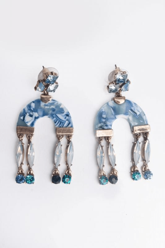 Urban Styles Aretes Talla única / Azul Long U Earrings-AZUL