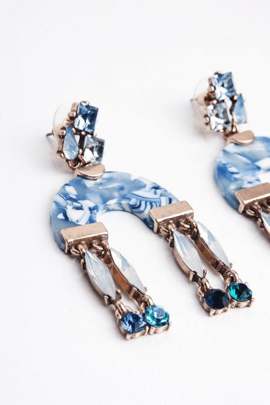 Long U Earrings-AZUL