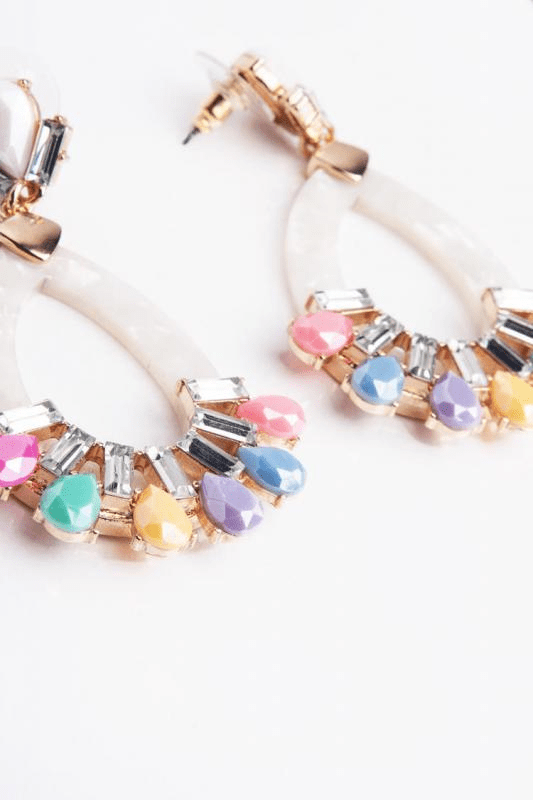 Urban Styles Aretes Talla única / Multicolor Rhinestone In Drop-  MULTICOLORES
