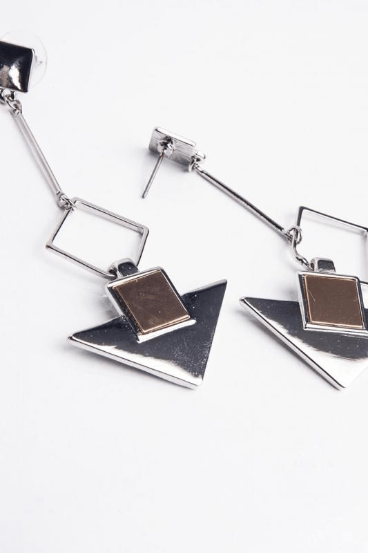 Urban Styles Aretes Talla única / Único Triangle and Square Silver