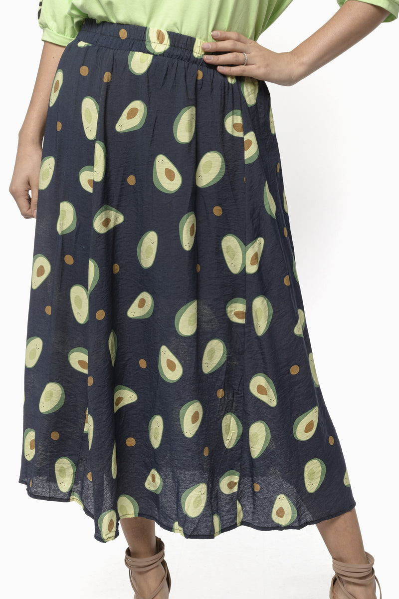 AVOCADO SKIRT   AZUL MARINO - AMARILLO