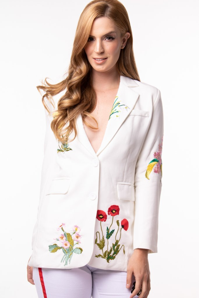 Urban Styles Sacos s / BLANCO THE FLOWERS BLAZER-EN NEGRO Y BLANCO