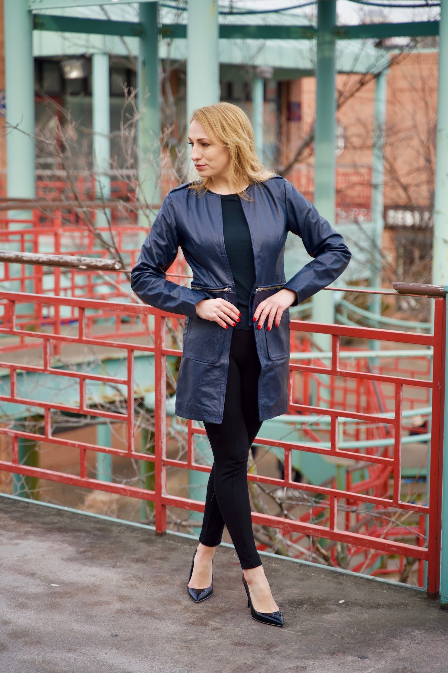 Versatile - Navy Blue 2-in-1 Lambskin Leather Jacket
