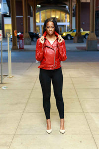 Raspberry Red Lambskin Leather Moto Jacket