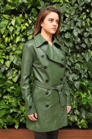 Olive Green Lambskin Trench Coat