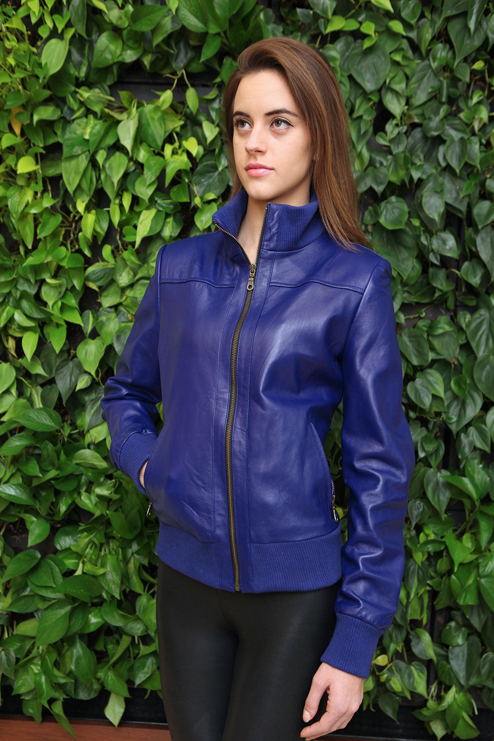Sleek Cobalt Blue Bomber Jacket