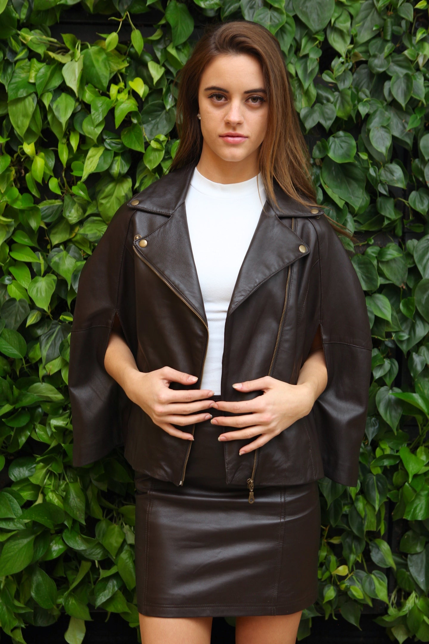 Victorian - Chocolate Brown Lambskin Leather Cape
