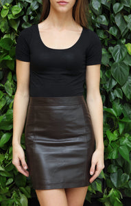 Rebel - Chocolate Brown Lambskin Leather Mini Skirt