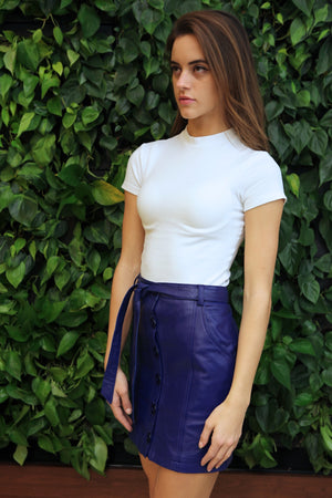 Quant - Cobalt Blue Button Front Lambskin Leather Skirt