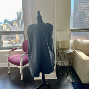 Mentel - Navy Blue Lambskin Leather Cape
