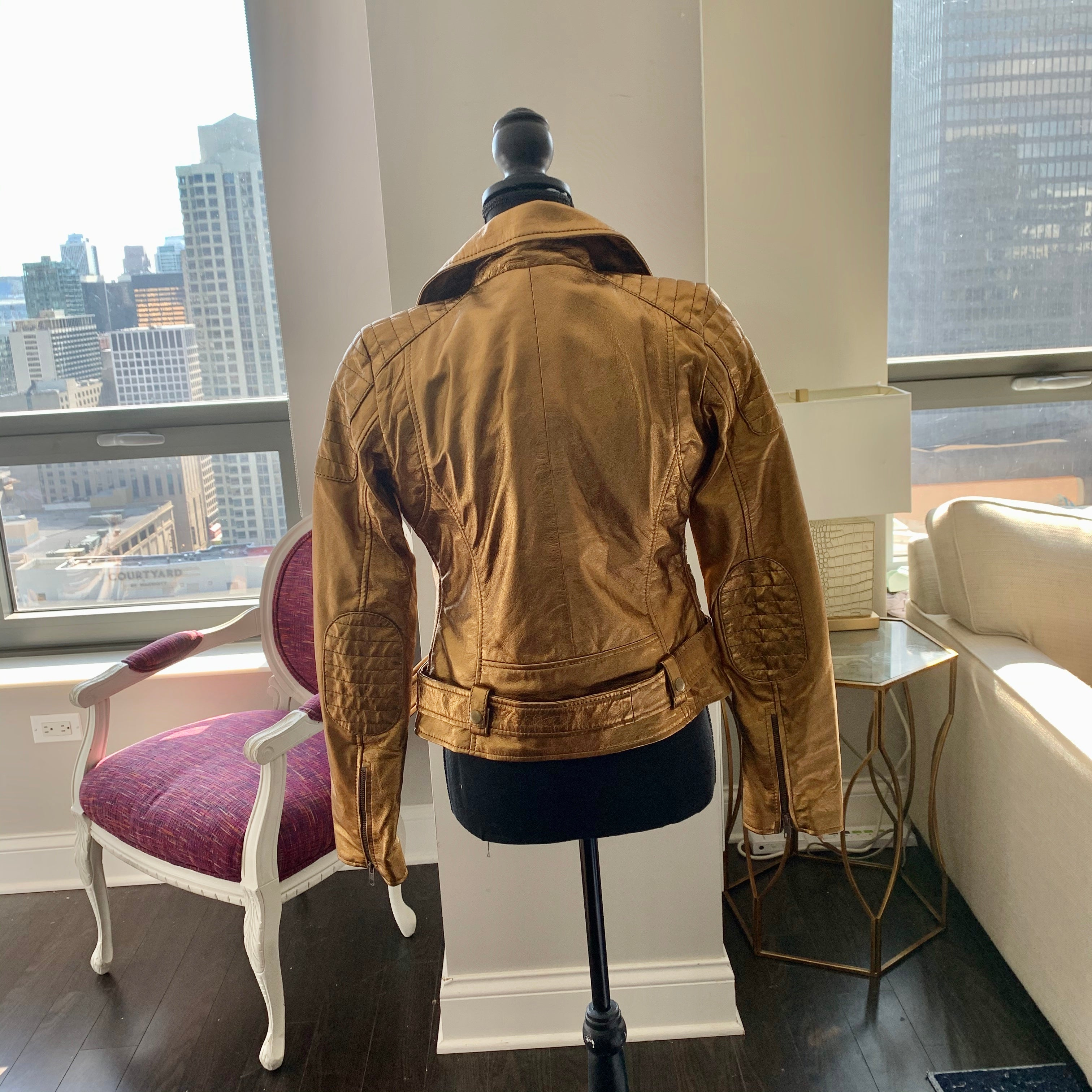 School - Metallic Gold Lambskin Leather Moto Jacket