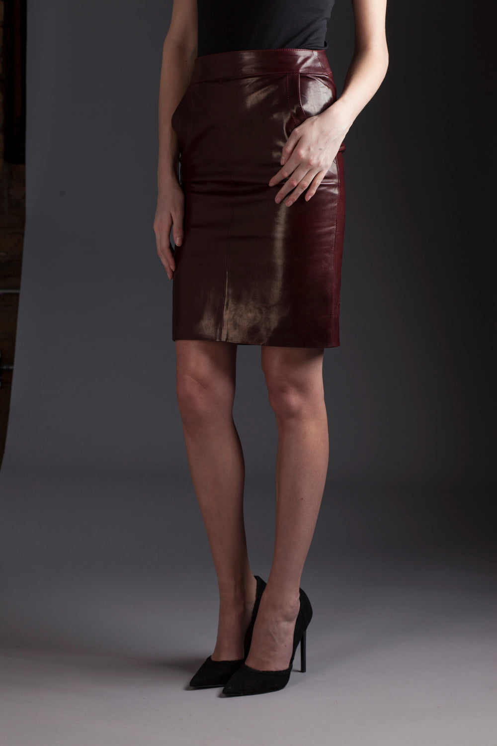 Old School - Burgundy Lambskin Leather Pencil Skirt