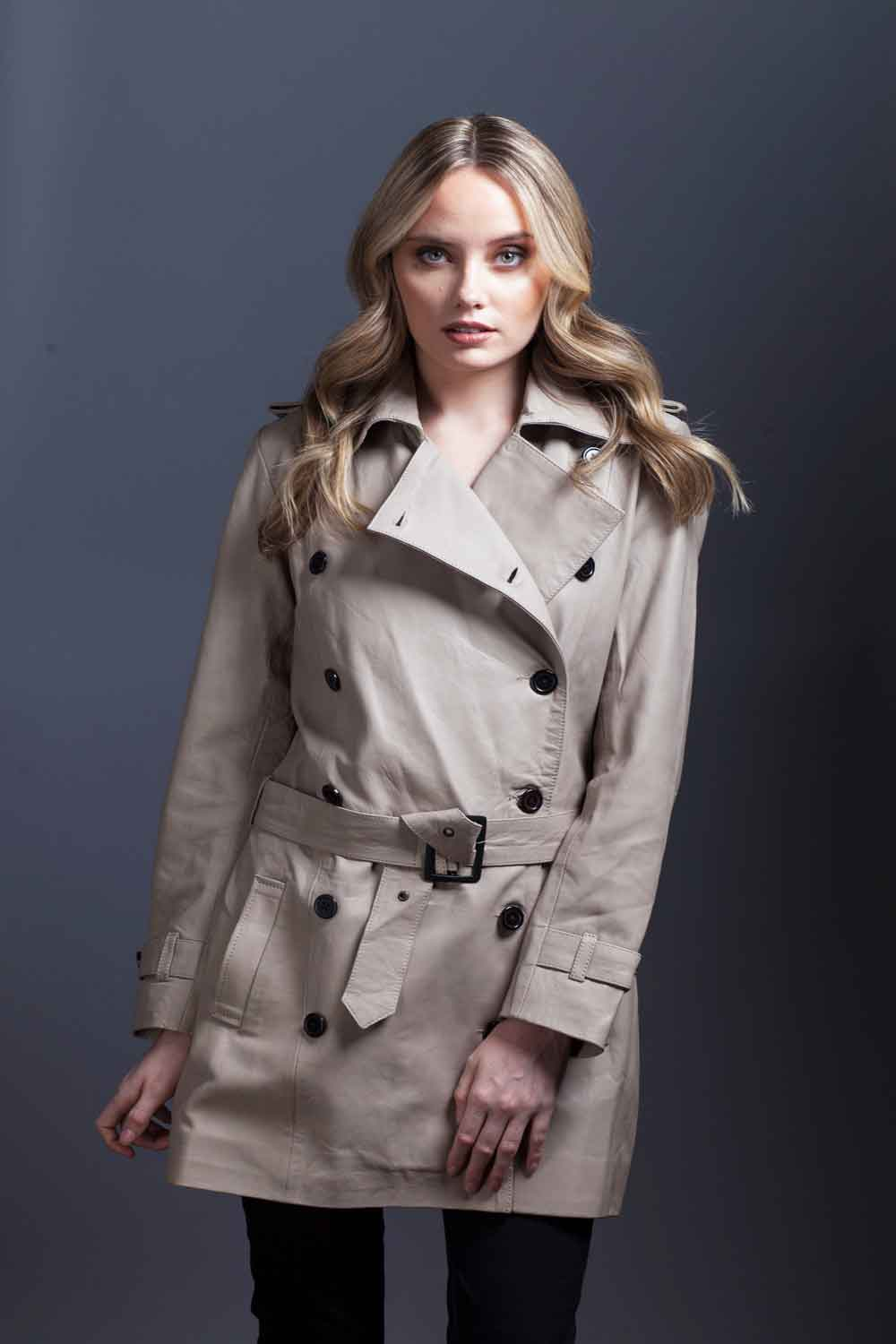 Taupe Lambskin Leather Trench Coat