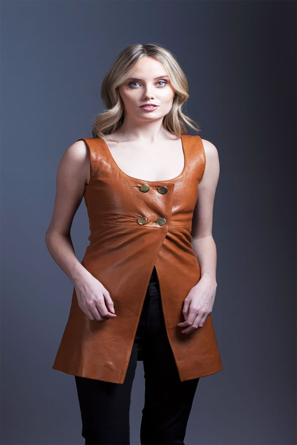 Tan Lambskin Leather Vest