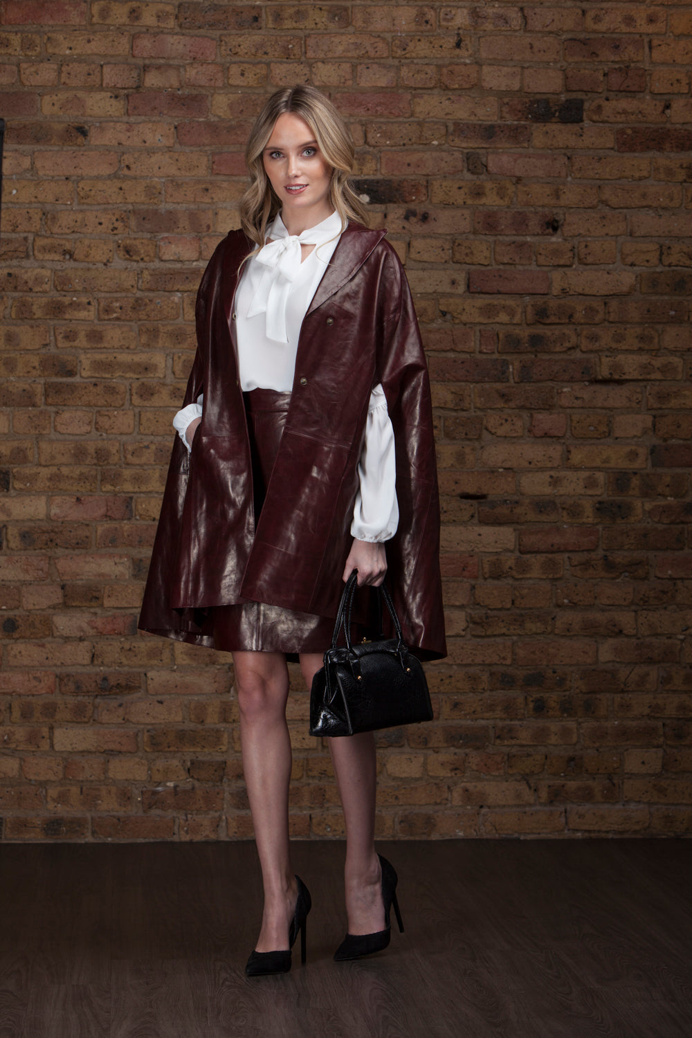Mentel - Burgundy Lambskin Leather Cape