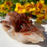 red quartz crystal cluster